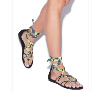 Shoedazzle Multicolored Caged Sandals NIB